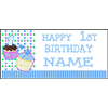 PERSONALIZED 1ST CUPCAKE BOY BANNER PARTY SUPPLIES