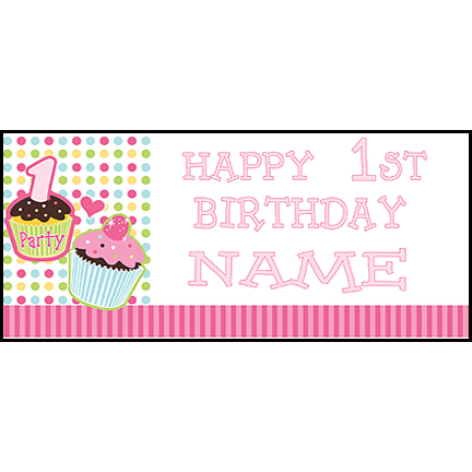 Click for larger picture of PERSONALIZED 1ST CUPCAKE GIRL BANNER PARTY SUPPLIES