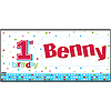 PERSONALIZED 1ST BIRTHDAY BOY DOTS PARTY SUPPLIES