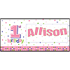 PERSONALIZE 1ST BIRTHDAY GIRL DOT BANNER PARTY SUPPLIES