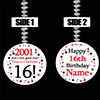 2001 16TH BIRTHDAY CUSTOMIZED DANGLER PARTY SUPPLIES