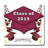 2019 GRADUATION BURGUNDY COASTER PARTY SUPPLIES