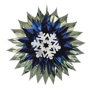 SNOWFLAKE FAN-BURST DECORATION 15 IN. PARTY SUPPLIES