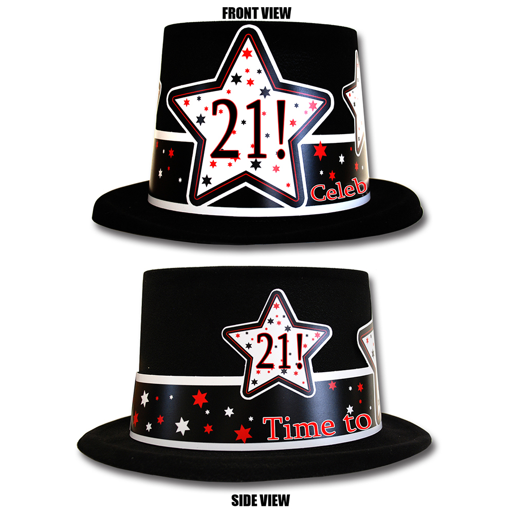 Click For Larger Picture Of 21ST BIRTHDAY TIME TO CELEBRATE TOP HAT PARTY SUPPLIES