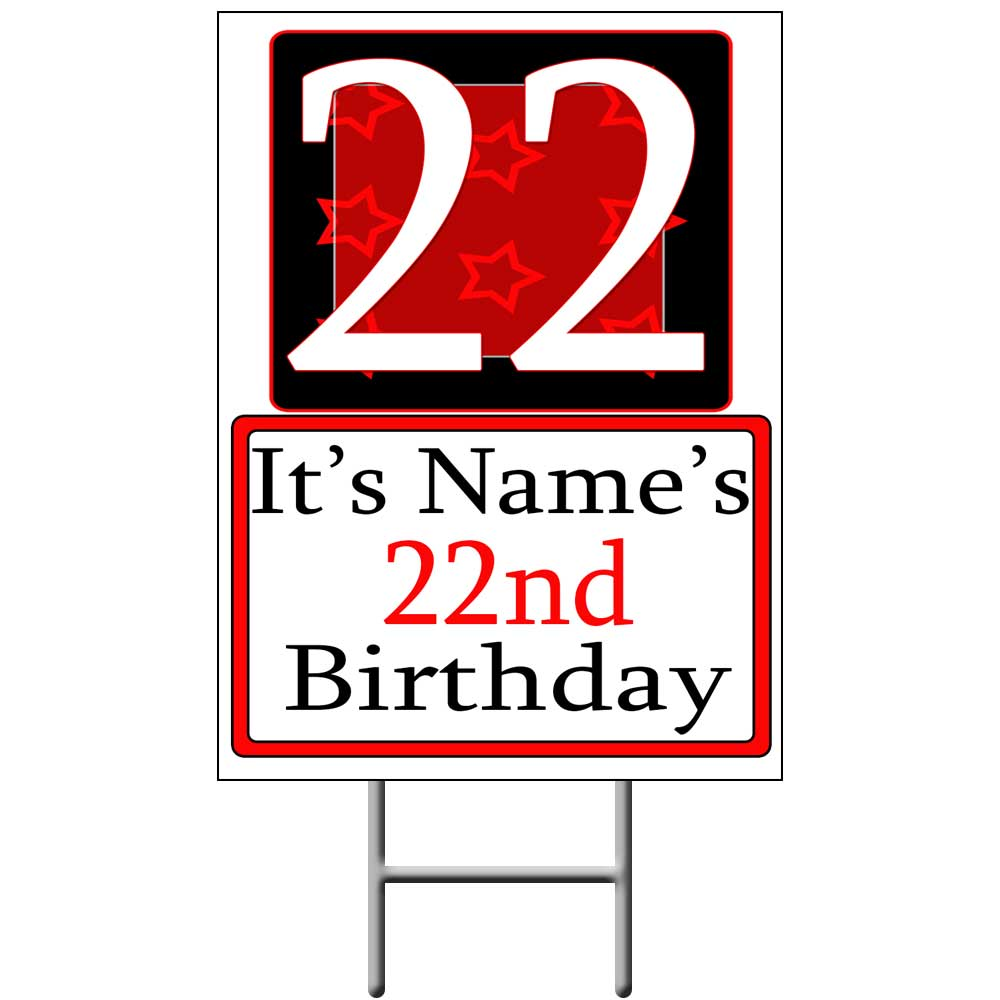 22 Happy Birthday Party Supplies Personalized 22 Year Old Yard Sign