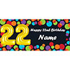 BALLOON 22ND BIRTHDAY CUSTOMIZED BANNER PARTY SUPPLIES