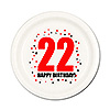 22ND BIRTHDAY DESSERT PLATE 8-PKG PARTY SUPPLIES