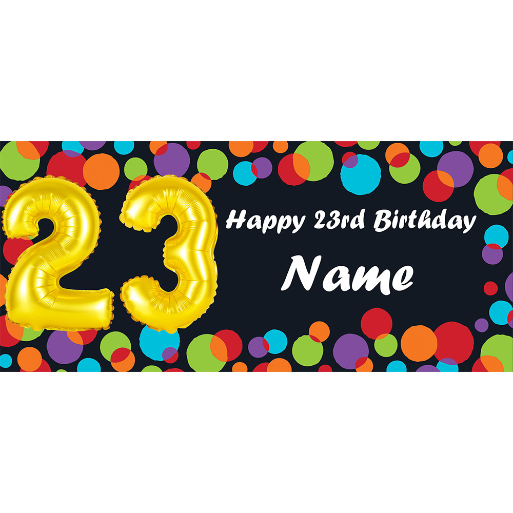 Click For Larger Picture Of BALLOON 23RD BIRTHDAY CUSTOMIZED BANNER PARTY SUPPLIES