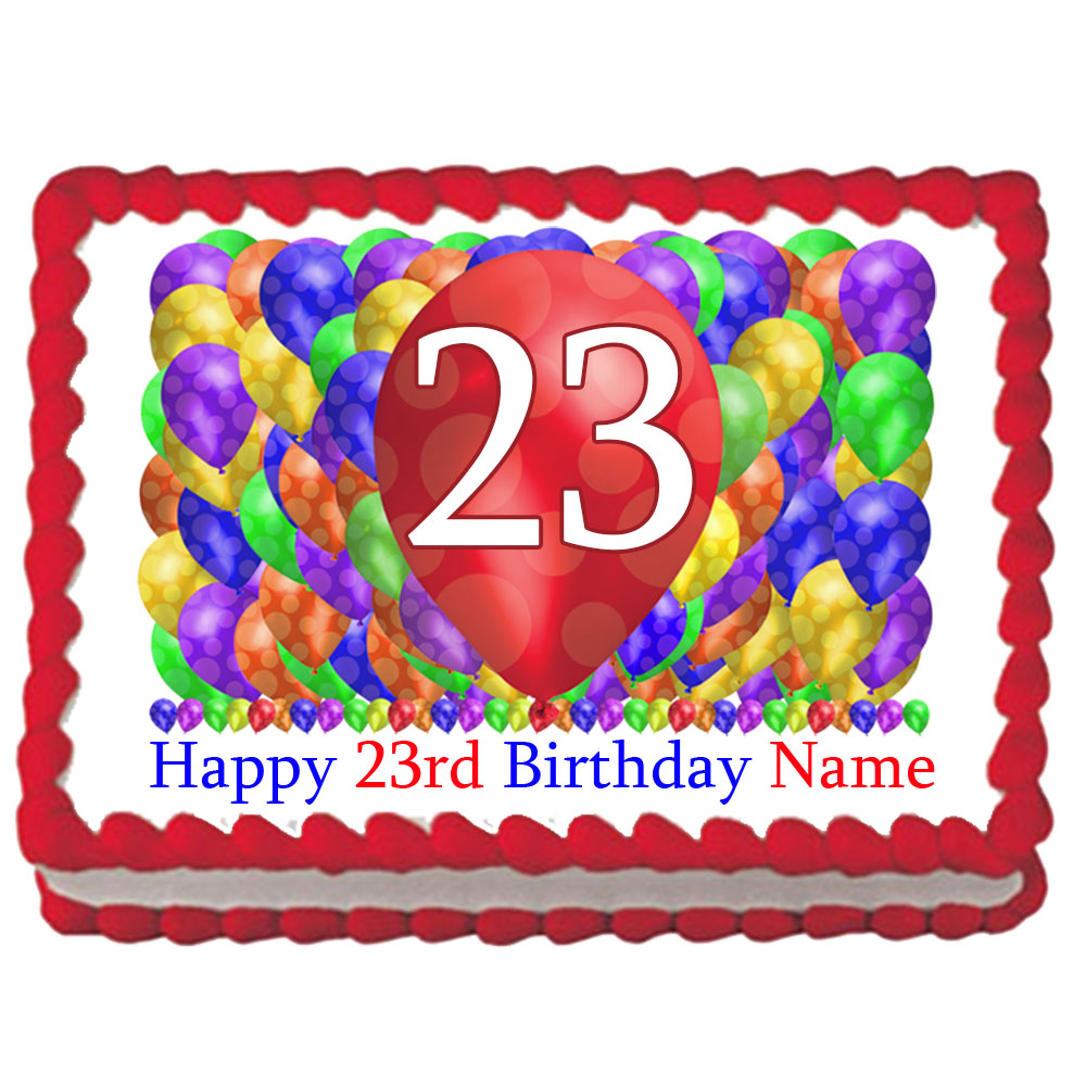 Click For Larger Picture Of 23RD BIRTHDAY BALLOON BLAST EDIBLE IMAGE PARTY SUPPLIES