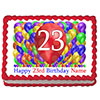 23RD BIRTHDAY BALLOON BLAST EDIBLE IMAGE PARTY SUPPLIES
