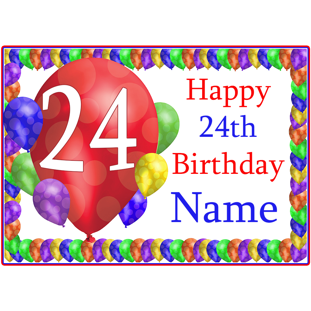 Click For Larger Picture Of 24TH BALLOON BLAST CUSTOMIZED PLACEMAT PARTY SUPPLIES
