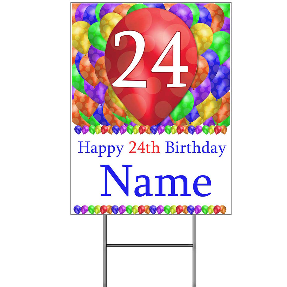 Click For Larger Picture Of 24TH CUSTOMIZED BALLOON BLAST YARD SIGN PARTY SUPPLIES
