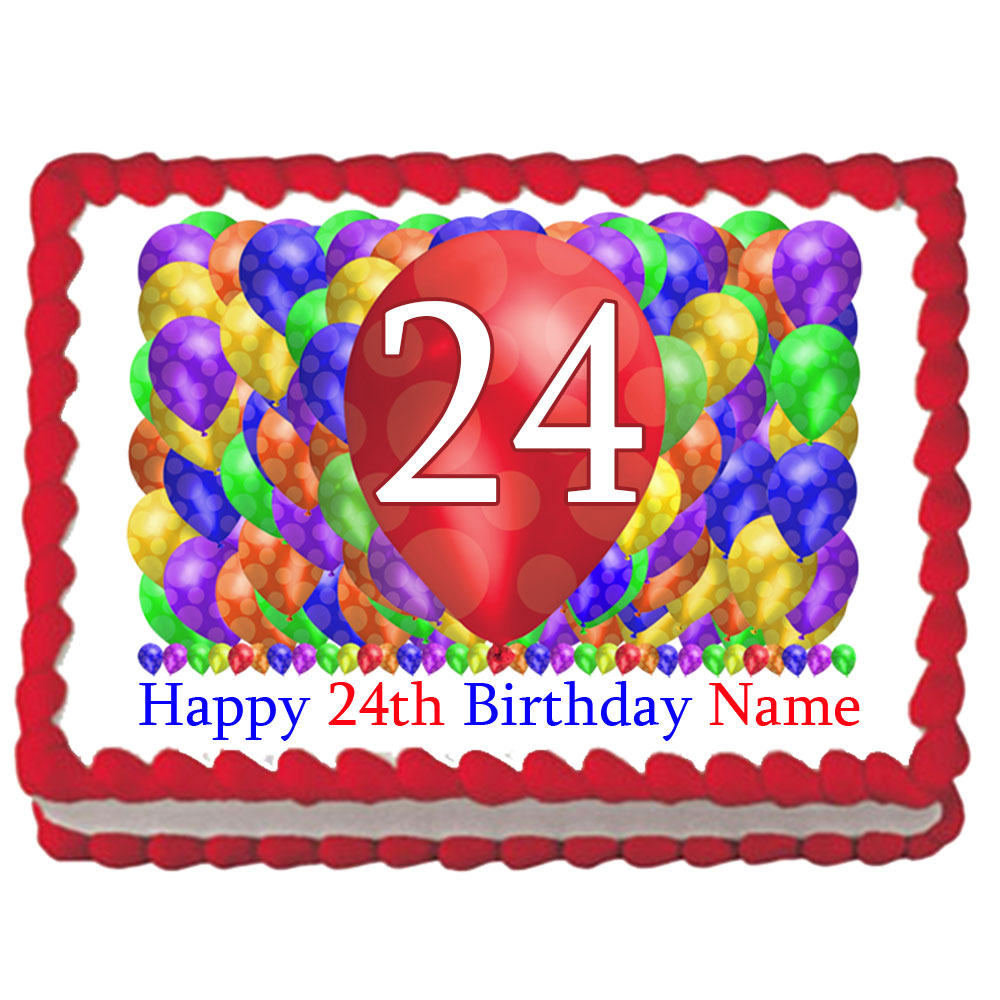 Click For Larger Picture Of 24TH BIRTHDAY BALLOON BLAST EDIBLE IMAGE PARTY SUPPLIES