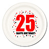 25TH BIRTHDAY DINNER PLATE 8-PKG PARTY SUPPLIES