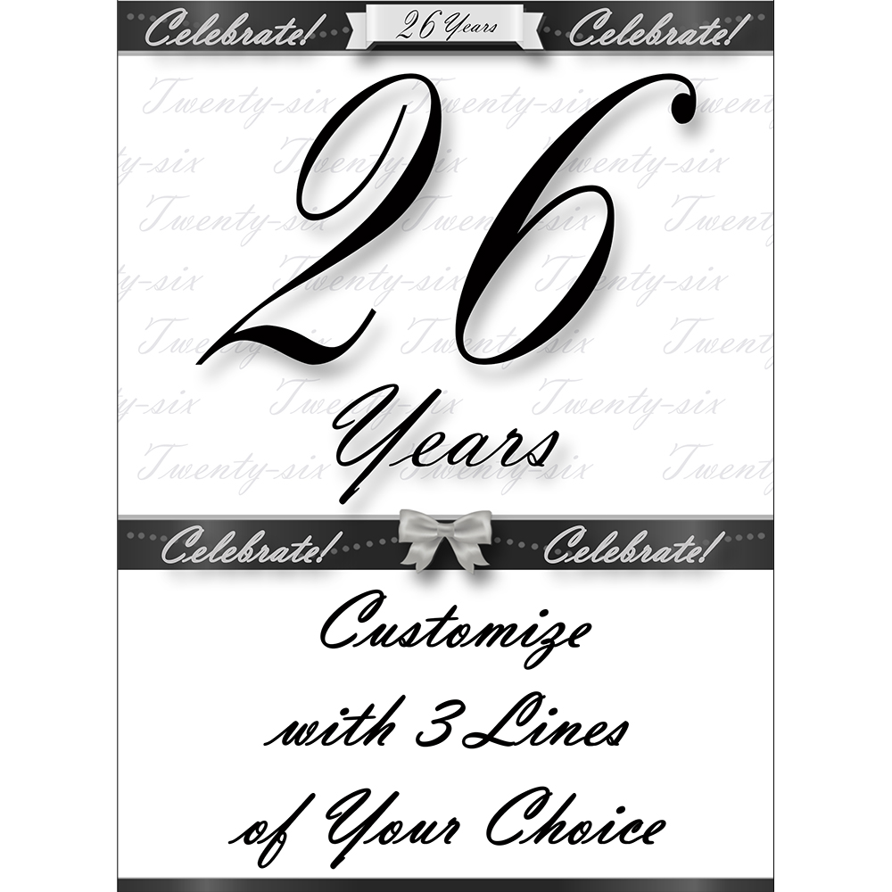 Click for larger picture of 26 YEARS CLASSY BLACK DOOR BANNER PARTY SUPPLIES