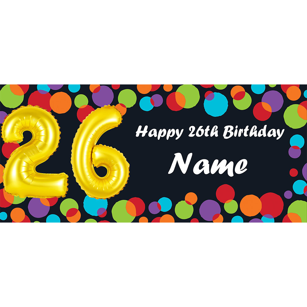 click for larger picture of balloon 26th birthday customized banner party supplies