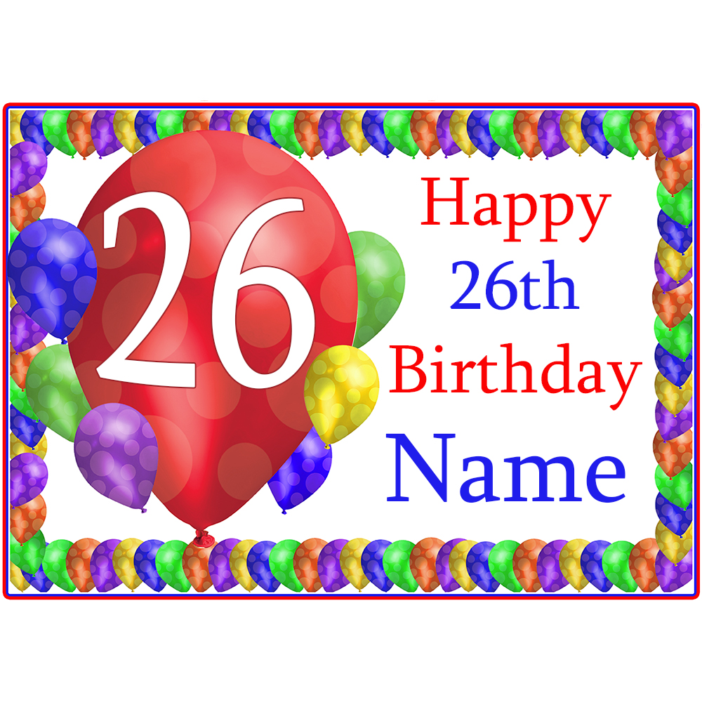 Click for larger picture of 26TH BALLOON BLAST CUSTOMIZED PLACEMAT PARTY SUPPLIES