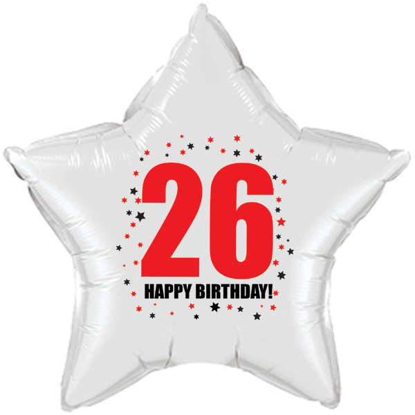 click for larger picture of 26th birthday star balloon party supplies