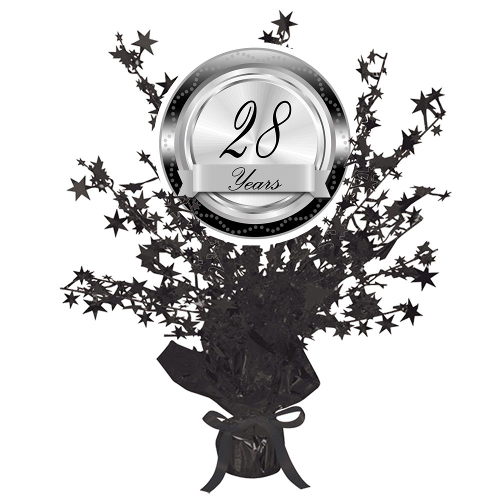 Click for larger picture of 28 YEARS CLASSY BLACK CENTERPIECE PARTY SUPPLIES