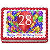 28TH BIRTHDAY BALLOON BLAST EDIBLE IMAGE PARTY SUPPLIES
