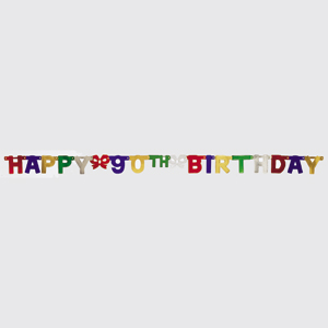 Click for larger picture of 90TH BIRTHDAY JOINTED BANNER PARTY SUPPLIES