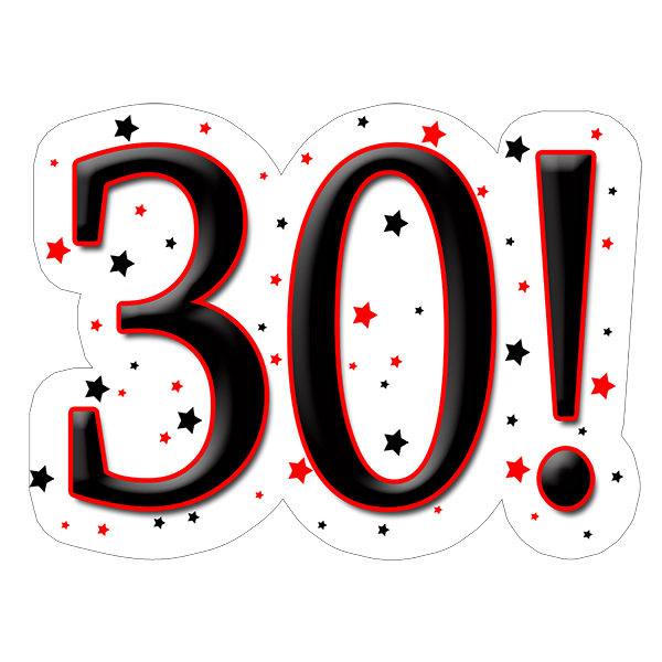 30! DECORATION (15X22 IN.) PARTY SUPPLIES
