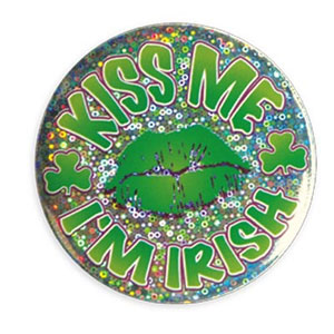 KISS ME I'M IRISH BUTTON (12/CASE) PARTY SUPPLIES