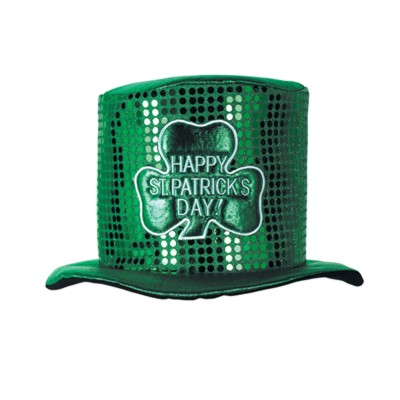 Click for larger picture of DISCONTINUED GLITZY ST PAT DAY TOP HAT PARTY SUPPLIES