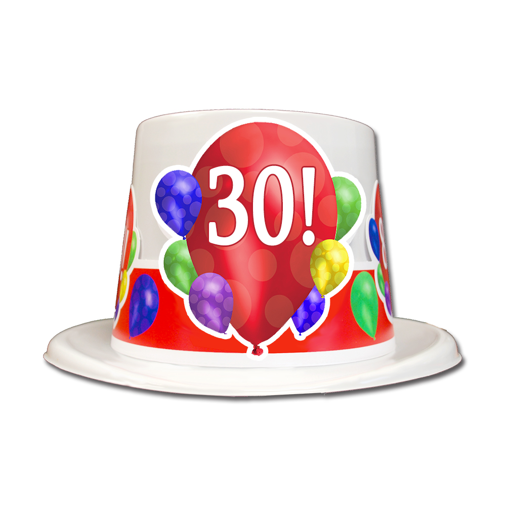 Click For Larger Picture Of 30TH BIRTHDAY BALLOON BLAST TOP HAT PARTY SUPPLIES