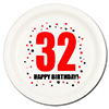 32ND BIRTHDAY DESSERT PLATE 8-PKG PARTY SUPPLIES