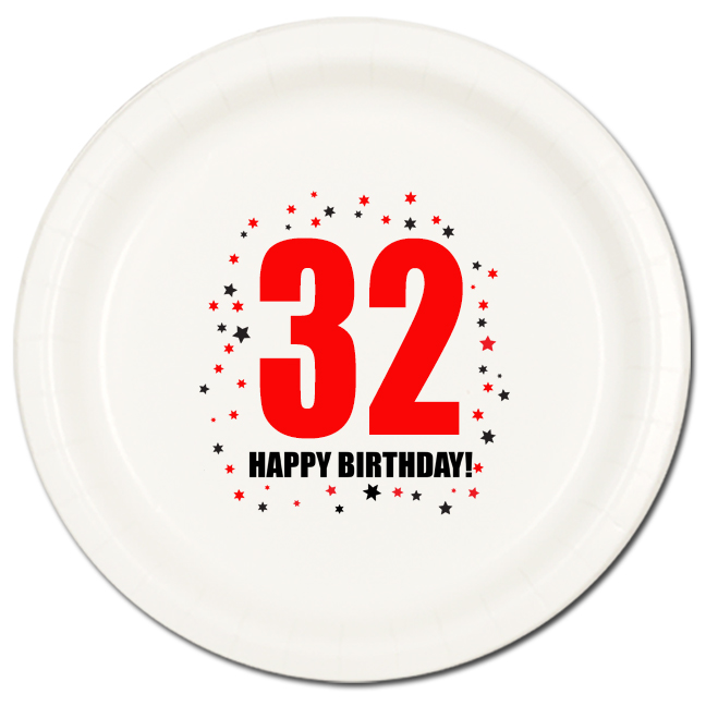 Click for larger picture of 32ND BIRTHDAY DINNER PLATE 8-PKG PARTY SUPPLIES