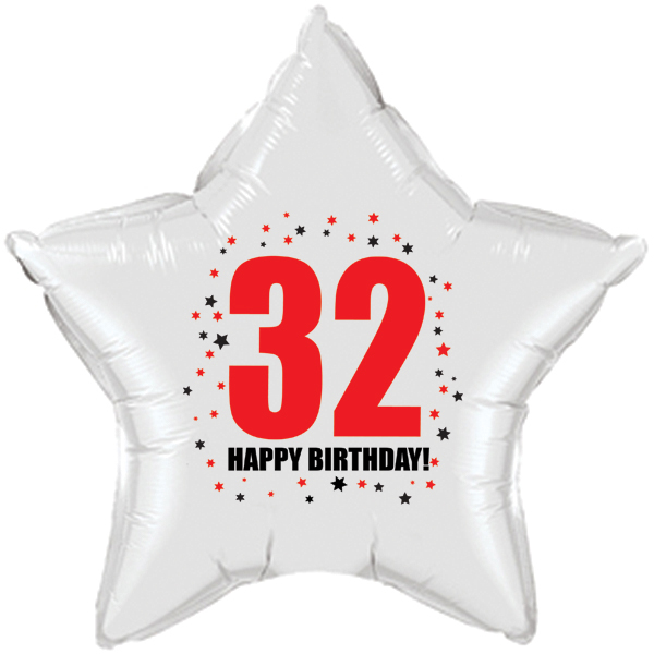 Click for larger picture of 32ND BIRTHDAY STAR BALLOON PARTY SUPPLIES
