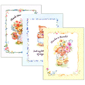 Click for larger picture of MARY'S BEAR THANKYOU NOTES PARTY SUPPLIES
