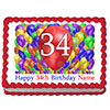 34TH BIRTHDAY BALLOON BLAST EDIBLE IMAGE PARTY SUPPLIES