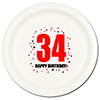 34TH BIRTHDAY DINNER PLATE 8-PKG PARTY SUPPLIES