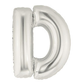 Click for larger picture of 40IN MEGALOON SILVER LETTER D SHAPEMYLAR PARTY SUPPLIES