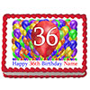 36TH BIRTHDAY BALLOON BLAST EDIBLE IMAGE PARTY SUPPLIES