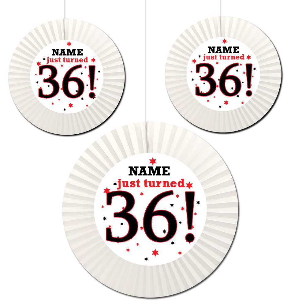 Click for larger picture of 36TH BIRTHDAY CUSTOM FAN DECORATIONS PARTY SUPPLIES