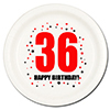 36TH BIRTHDAY DESSERT PLATE 8-PKG PARTY SUPPLIES