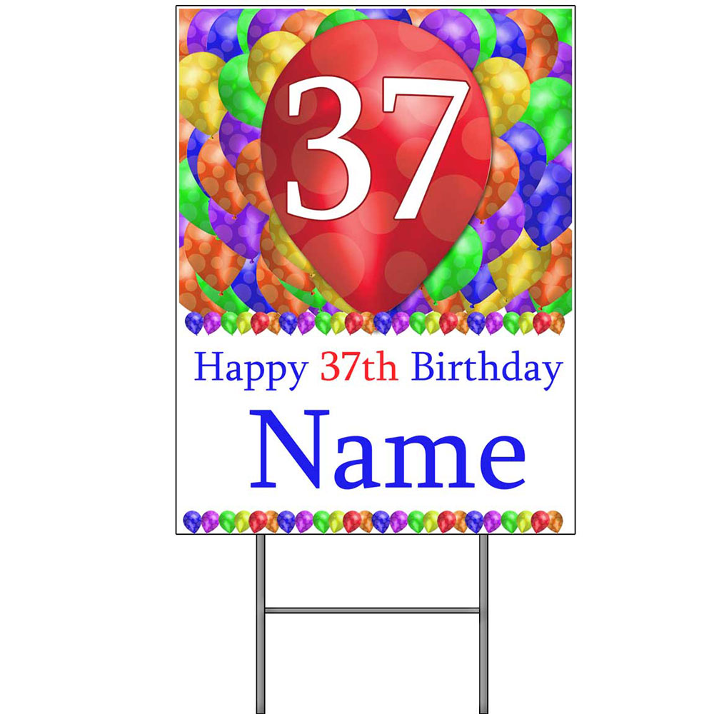 Click for larger picture of 37TH CUSTOMIZED BALLOON BLAST YARD SIGN PARTY SUPPLIES