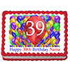 39TH BIRTHDAY BALLOON BLAST EDIBLE IMAGE PARTY SUPPLIES