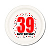 39TH BIRTHDAY DESSERT PLATE 8-PKG PARTY SUPPLIES