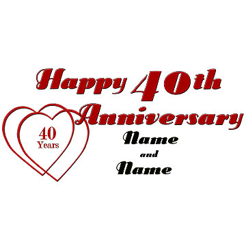 Click for larger picture of PERSONALIZED 40TH ANNIVERSARY BANNER PARTY SUPPLIES