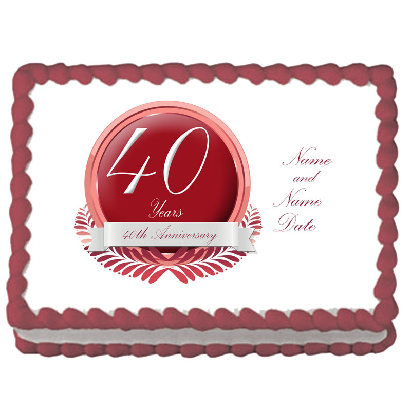 Click for larger picture of 40TH ANNIVERSARY CUSTOM EDIBLE PARTY SUPPLIES