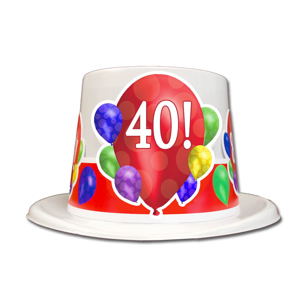 Click For Larger Picture Of 40TH BIRTHDAY BALLOON BLAST TOP HAT PARTY SUPPLIES