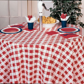 Click for larger picture of RED GINGHAM 82IN RND PLSTC TBLCVR(12/CS) PARTY SUPPLIES