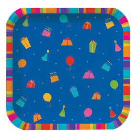 Click for larger picture of DISCONTINUED BD STRIPES DINNER PLT ICON PARTY SUPPLIES