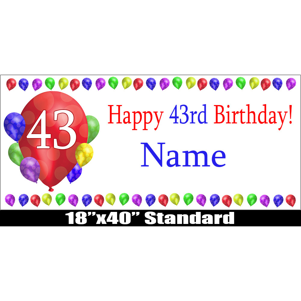 Click for larger picture of 43RD BIRTHDAY BALLOON BLAST NAME BANNER PARTY SUPPLIES