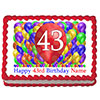 43RD BIRTHDAY BALLOON BLAST EDIBLE IMAGE PARTY SUPPLIES