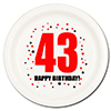 43RD BIRTHDAY DESSERT PLATE 8-PKG PARTY SUPPLIES